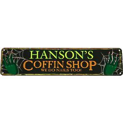 Personalized Coffin Shop Halloween Sign