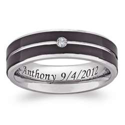 Titanium Two-Tone Groove Cubic Zirconia Engraved Beveled Band