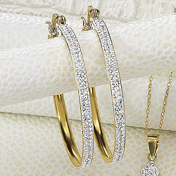 Large Swarovski Crystal Hoop Earrings