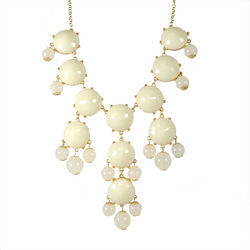 Cream White Bubble Bib Statement Necklace