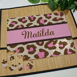 Personalized Pink Leopard Print Jigsaw Puzzle