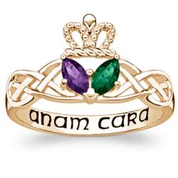 Goldtone Couple's Marquise Birthstone Claddagh Ring