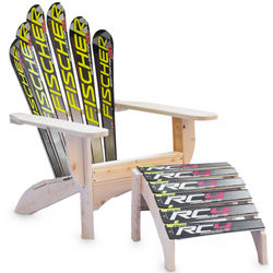 Recycled Snow Ski Chair and Ottoman