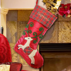 Personalized Plaid Reindeer Christmas Stocking