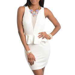 Ivory Romantic Lace Mesh Cut Out Peplum Mini Dress