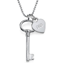Personalized Silver Key and Heart Charm Necklace