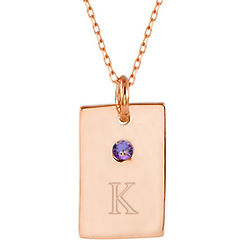 Birthstone with Engraveable Initial Petite Rose Gold Tag Pendant