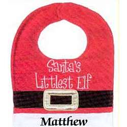 Santa Baby and Santa's Littlest Elf Personalized Christmas Bib