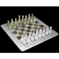 Hand Carved Green Onyx Chess Set