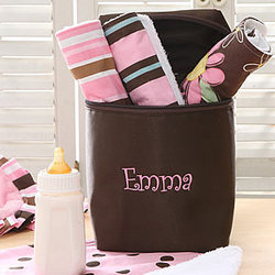 Personalized Burp Cloth & Bag Set in Pink