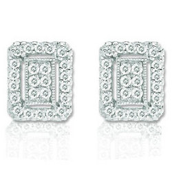 14k White Gold Diamond Deco Style Button Earrings