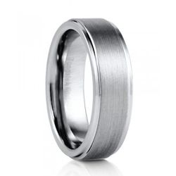 7mm Men's Comfort Fit Tungsten Carbide Brushed Band Ring