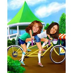 Tandem Bicycle Caricature from Photos