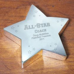 Engraved All-Star Silver Star Plaque