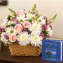 Pink and White Celebrating Life Funeral Flowers