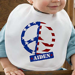 American Flag Peace Symbol Personalized Baby Bib