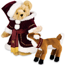 15'' St. Nick Teddy Bear with Reindeer