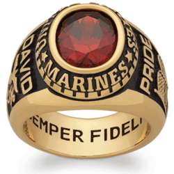 Men's 18K Gold Over Sterling Oval Birthstone Military Ring