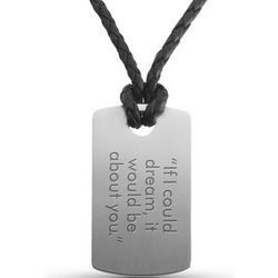 Engraved Stainless Steel and Leather Horizontal Dog Tag
