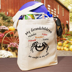 Caught in My Web Personalized Halloween Tote Bag