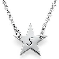Personalized Silver Star Necklace with Initial