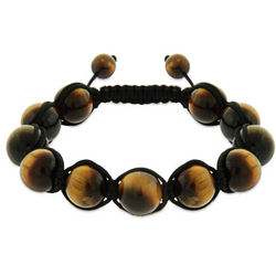 Tigers Eye Genuine Stone Courage Shamballa Style Bracelet