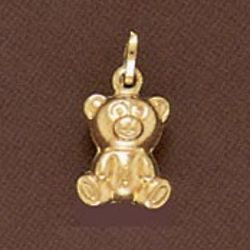 Medium 14K Gold Teddy Bear Pendant