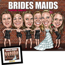 Bridesmaids Fully Custom Caricature Artwork