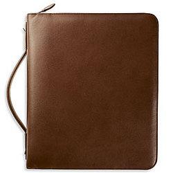 """Folio 2"""" Zippered Leather Handle Binder in Tan"""