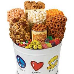 Peace, Love & Popcorn 2 Gallon Snack Assortment Gift Tin