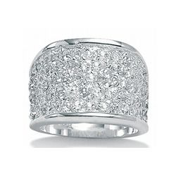 Wide Band Cubic Zirconia Silver Ring