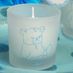 Blue Bear Glitter Candle Favor