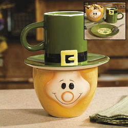 St. Patrick's Day Leprechaun Bowl, Plate, and Coffee Mug