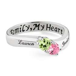Sterling Silver Two Birthstone Heart Family Ring