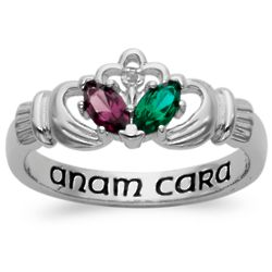 Sterling Silver Couple's Birthstone and Genuine Diamond Claddagh