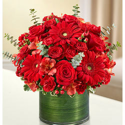 Red Cherished Memories Funeral Flowers