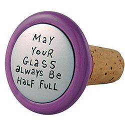 Glass Half Full Wine Stopper