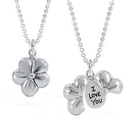 Sterling Silver Flower Necklace with Hidden Message