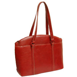 Red Leather Laptop Tote