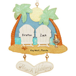 Two Chairs Beach Wedding Personalized Christmas Ornament