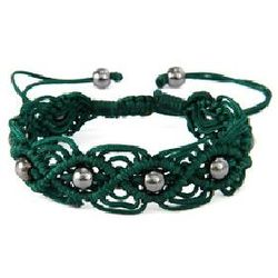 Forest Green Beaded Macrame Friendship Bracelet