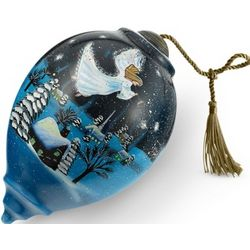 Hand Painted Guardian Angel Christmas Ornament