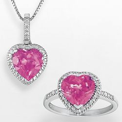 Diamond and Lab Created Pink Sapphire Heart Pendant & Ring Set