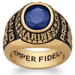 Men's Yellow Celebrium Oval Birthstone Military Ring