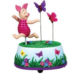 Piglet Butterfly Chase Animated Musical Figurine