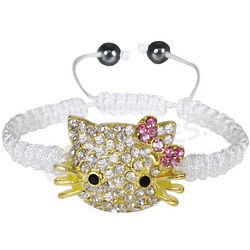 Girl's Shamballa Inspired Hematite Kitty Cord Bracelet