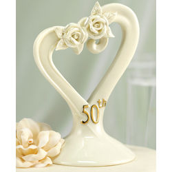 50th Anniversary Pearl Rose Cake Topper