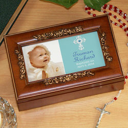 Personalized Photo Christening Music Box