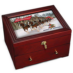 Budweiser Locking Wooden Strongbox with Clydesdale Horses