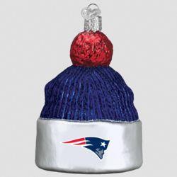New England Patriots Hand Blown Glass Beanie Ornament
